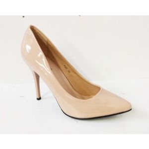 Pantofi dama bej, stiletto, toc de 9 cm, eleganti imagine