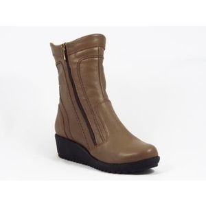 Ghete dama khaki piele ortopedice toc 4 cm Harony imagine