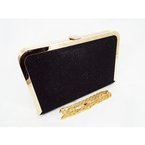 Geanta dama clutch negru metalizat Feerya imagine