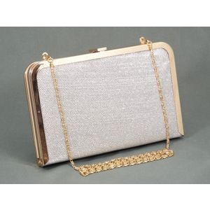 Geanta dama clutch argintiu metalizat Feerya imagine