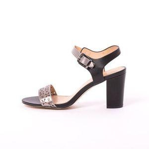 Sandale Dama Toc Cu Strasuri si Perforatii Silvia Negre imagine