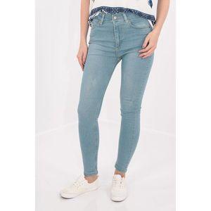 Jeans bleu skinny fit cu talie inalta imagine