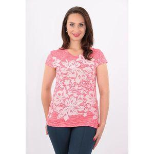 Bluza roz tricotata cu flori albe imagine