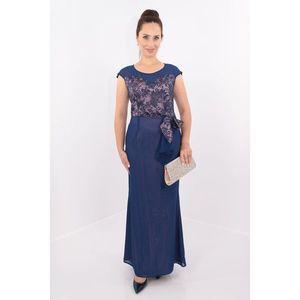 Rochie de seara din voal bleumarin cu dantela imagine