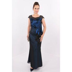 Rochie de seara din voal negru si saten albastru imagine