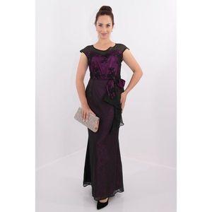 Rochie de seara din voal negru si saten ciclamen imagine