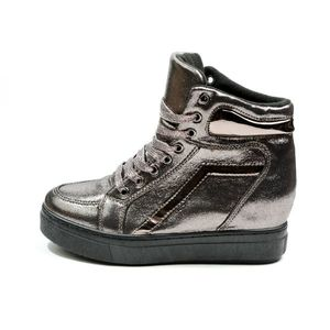 Sneakers Dama Cu Siret Si Platforma HighLander Gri Metalizat imagine