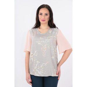 Bluza din vascoza gri cu maneci din voal roz imagine