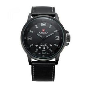 Ceas Naviforce negru stil Sport mecanism Quartz rezistent la apa 3Bar curea din piele neagra + cutie cadou imagine