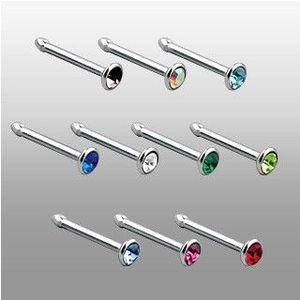 Piercing nas cu zircon - Culoare zirconiu piercing: Albastru - B imagine