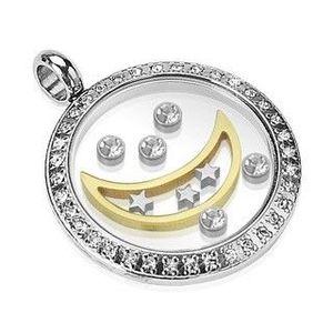 Pandantiv din oțel chirurgical - cerc cu lună, stele și zirconii imagine