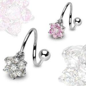 Piercing twist cu floare, din oțel - Culoare zirconiu piercing: Roz - P imagine