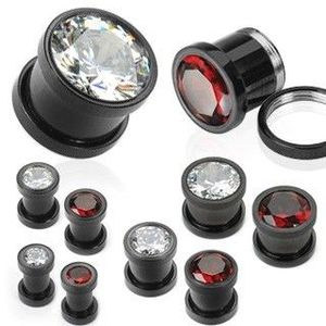 Tunel din oțel cu titan, de culoare neagră, cu zircon - Lățime: 4 mm, Culoare zirconiu piercing: Transparent - C imagine