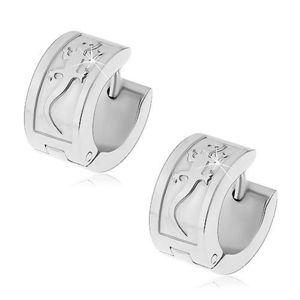 Cercei din oțel de culoare argintie cu șopârlă mare, închidere tip verigă cu arc imagine