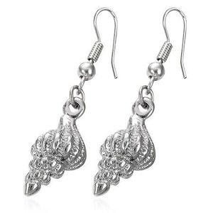 Cercei argintii din oțel, scoici răsucite în spirală imagine