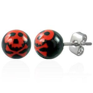 Cercei din oțel, bile negre - craniu de culoare roșie imagine