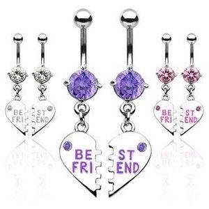 Set de piercing-uri pentru buric – inimă ruptă cu inscripţia BEST FRIEND - Culoare Piercing: Ametist imagine