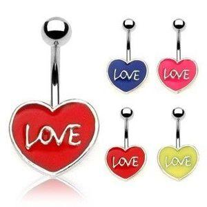 Piercing pentru buric - LOVE - Culoare Piercing: Albastru imagine