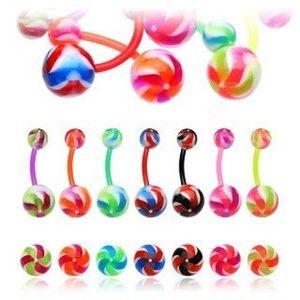 Piercing pentru buric – elice colorată - Culoare Piercing: Ametist imagine