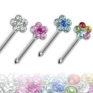 Piercing nas - floare cu zircon - Culoare zirconiu piercing: Albastru deschis - Q imagine