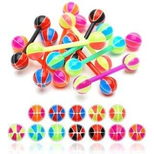 Piercing limbă basketball - Culoare Piercing: Albastru – Roșu imagine