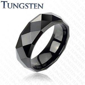 Inel din tungsten negru cu romburi rafinate, 6 mm - Marime inel: 49 imagine