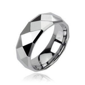 Inel din tungsten argintiu cu romburi rafinate, 6 mm - Marime inel: 49 imagine