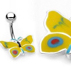 Piercing pentru buric – fluture galben cu albastru imagine