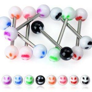 Piercing limbă - smiley colorat - Culoare Piercing: Alb imagine