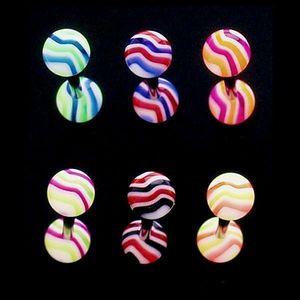 Piercing limbă - valuri colorate - Culoare Piercing: Albastru - Galben imagine