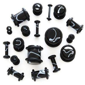 Plug negru pentru ureche – ornament alb - Lățime: 1, 2 mm imagine