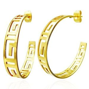 Cercei aurii, rotunzi - simbol grecesc decupat imagine