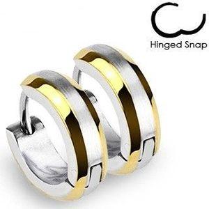 Bijuterii eshop - Cercei rotunzi - benzi aurii și centru argintiu R2.19 imagine