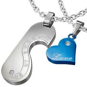 Pandantive pentru cupluri – inimă, medalion, inscripţie romantică, zircon, culoare albastră imagine