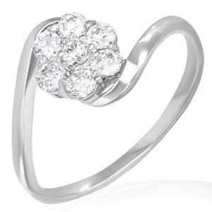 Inel de logodnă din oțel - floare curcubeu din zirconii - Marime inel: 50 imagine