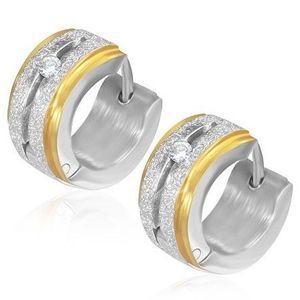 Cercei rotunzi salblați din oțel cu zirconiu și margini aurii imagine