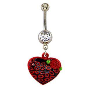 Piercing pentru buric - inimă neagră cu cercuri roșii şi trandafir imagine