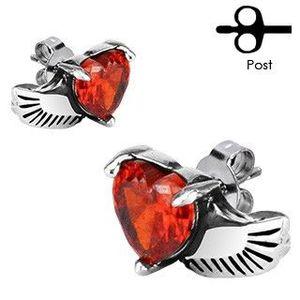 Cercei din oțel inoxidabil - aripă de înger, inimă roșie imagine