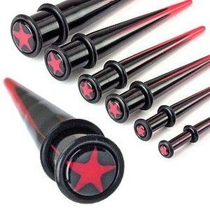 Expander din acrilic pentru ureche – stea roșie - Diametru piercing: 10 mm imagine