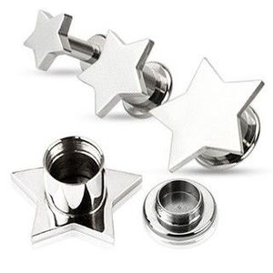 Piercing pentru ureche – plug din oțel în formă de stea - Lățime: 10 mm imagine