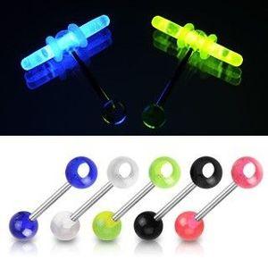 Piercing pentru limbă - bile colorate cu gaură pentru beţe fosforescente - Culoare Piercing: Albastru imagine