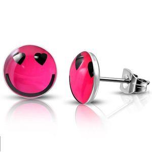 Bijuterii eshop - Cercei rotunzi din oțel - smiley îndrăgostit R21.20 imagine