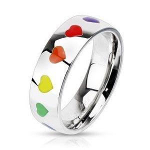Inel lucios din oțel cu inimi curcubeu, 6 mm - Marime inel: 47 imagine