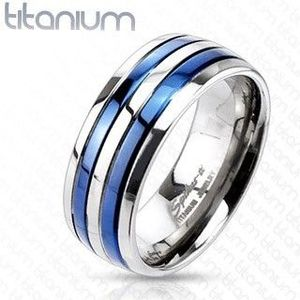 Inel din titan, cu două dungi albastre - Marime inel: 49 imagine