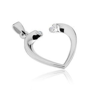 Pandantiv argint - contur inimă cu zircon imagine