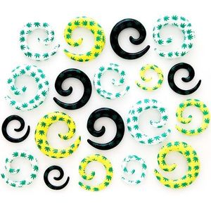 Expander pentru ureche – spirală cu model marijuana - Lățime: 10 mm, Culoare: Galben imagine