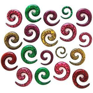 Expander pestriţ pentru ureche – spirală - Lățime: 3 mm, Culoare Piercing: Verde Deschis - Negru imagine