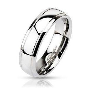 Inel din oțel - bandă cu două dungi gravate - Marime inel: 49 imagine