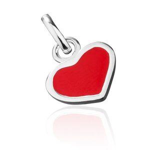 Pandantiv din argint - inimă roșie cu margine argintie imagine