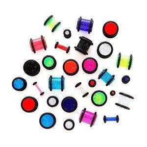 Piercing pentru ureche – plug neon cu sclipici - Lățime: 1, 5 mm, Culoare: Albastru - Transparent imagine